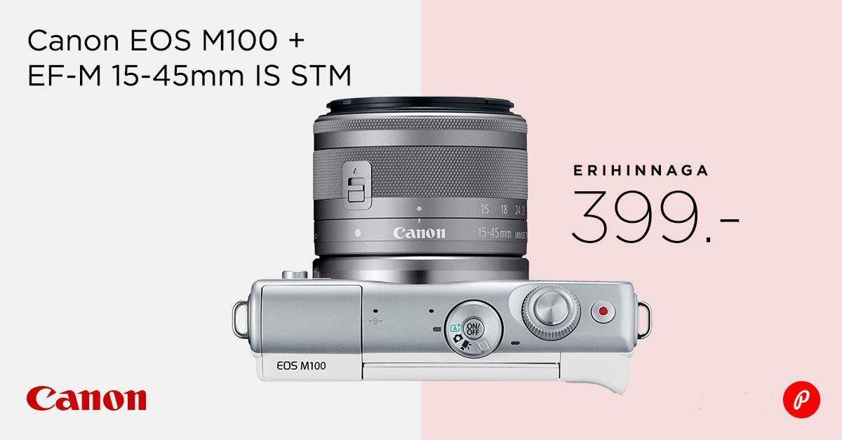 Canon EOS M100 + EF-M 15-45mm IS STM müügil erihinnaga 399€