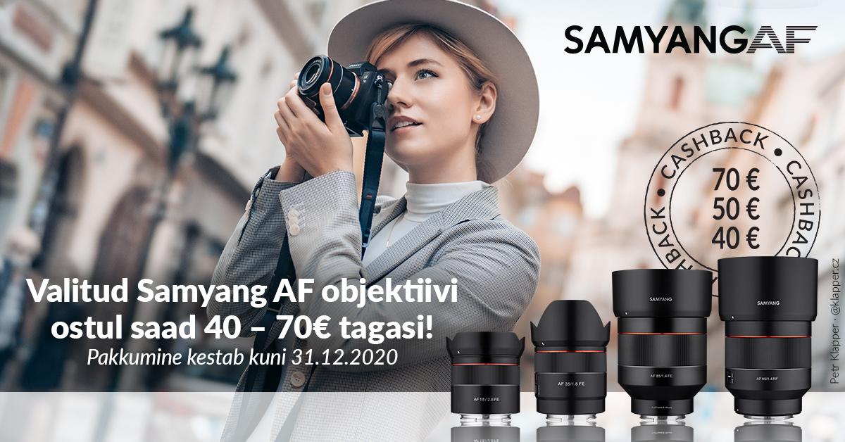 Valitud Samyang AF fiksobjektiivi ostul saad 40-70€ osturaha tagasi