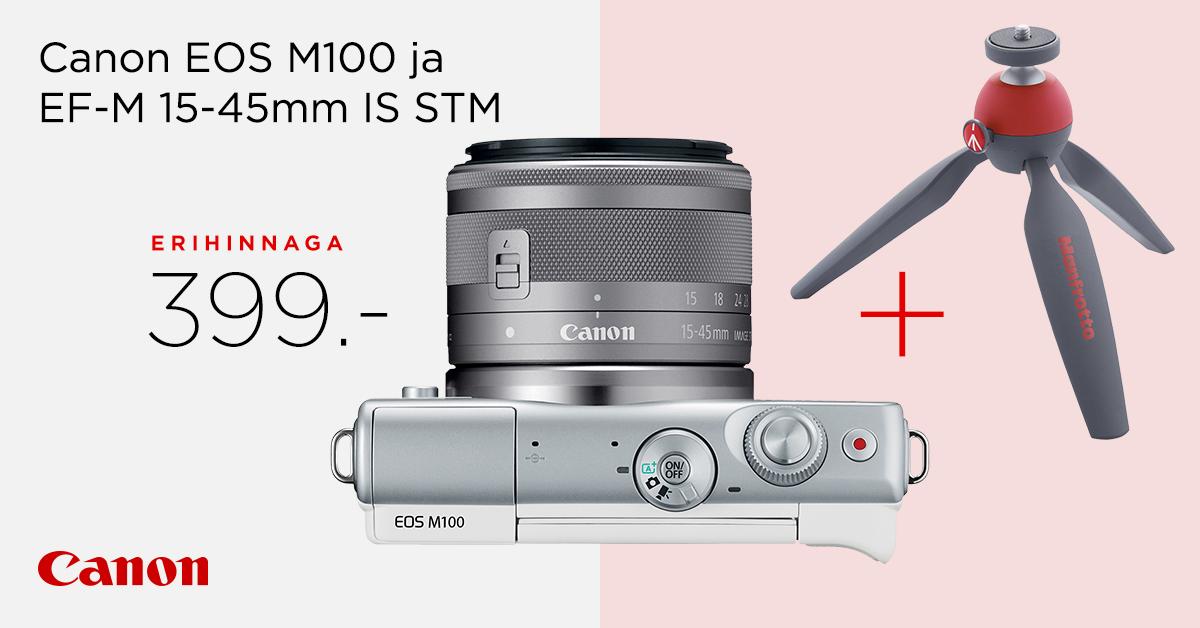 Canon EOS M100 komplekt müügil erihinnaga 399€ + kingitus