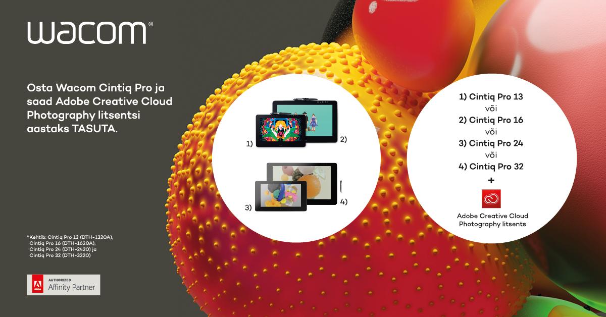 Osta Wacom Cintiq Pro ja saad Adobe Creative Cloud Photography litsentsi aastaks tasuta