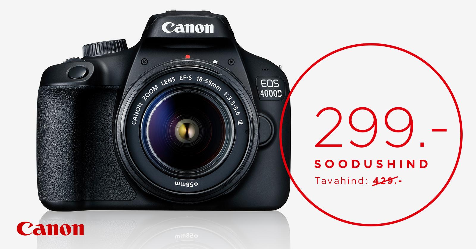 Canon EOS 4000D + 18-55mm III Kit on müügil uskumatu hinnaga 299€
