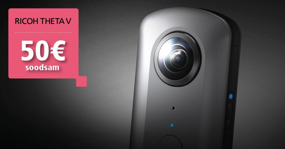Eriline Ricoh Theta V kaamera on 50€ soodsam