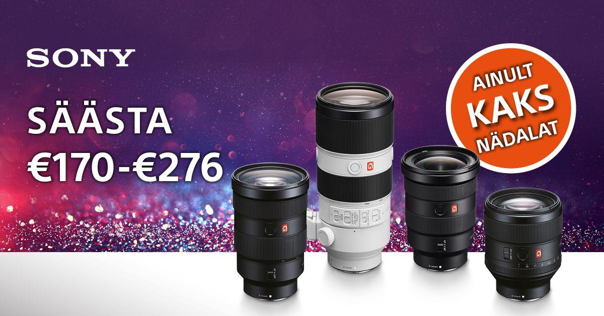 Valitud Sony G Master objektiivid on 170-276€ soodsamad + osa osturaha tagasi