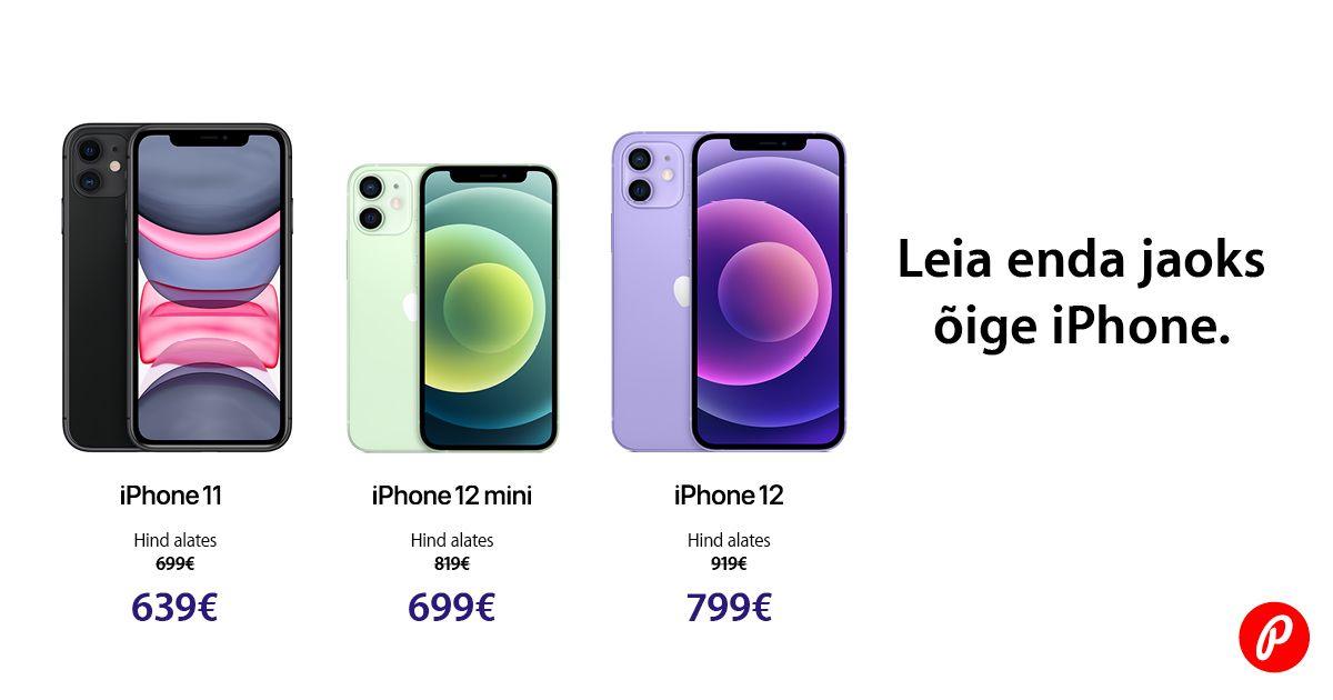 Apple iPhone 11, iPhone 12 ja iPhone 12 mini on müügil suvehinnaga
