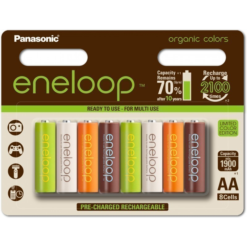 Panasonic Eneloop Rechargeable Battery AA 1900 8BP Organic
