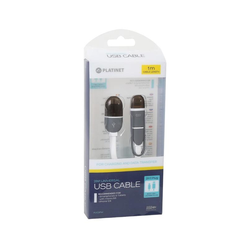 Platinet kaabel USB - microUSB/Lightning 1m, valge