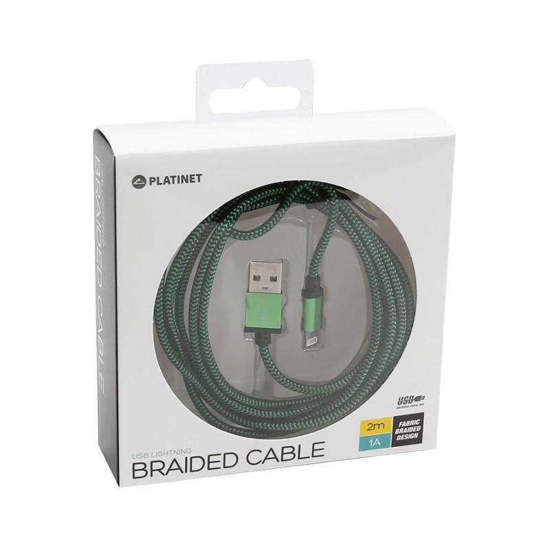Platinet cable USB - Lightning 2m braided, green