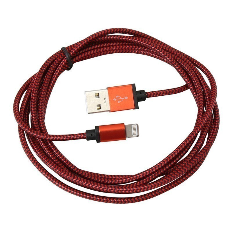 Platinet kaabel USB - Lightning 2m punutud, punane