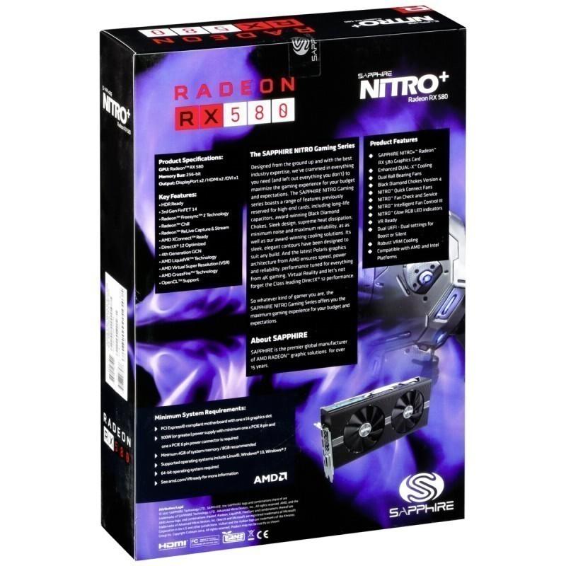 Sapphire Radeon RX 580 4GB Nitro GDDR5 2 x HDMI, 2 x Displayport