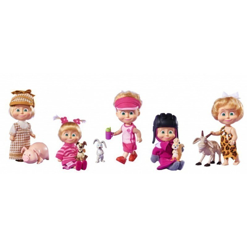 531f23f1974 SIMBA MASHA AND THE BEAR doll with her aninmal friends, 5-asst, 109302117