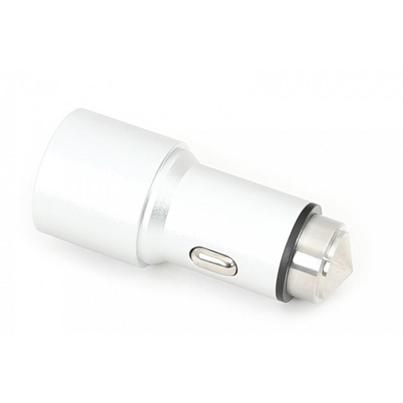 Omega car charger 2xUSB 2100mA, silver