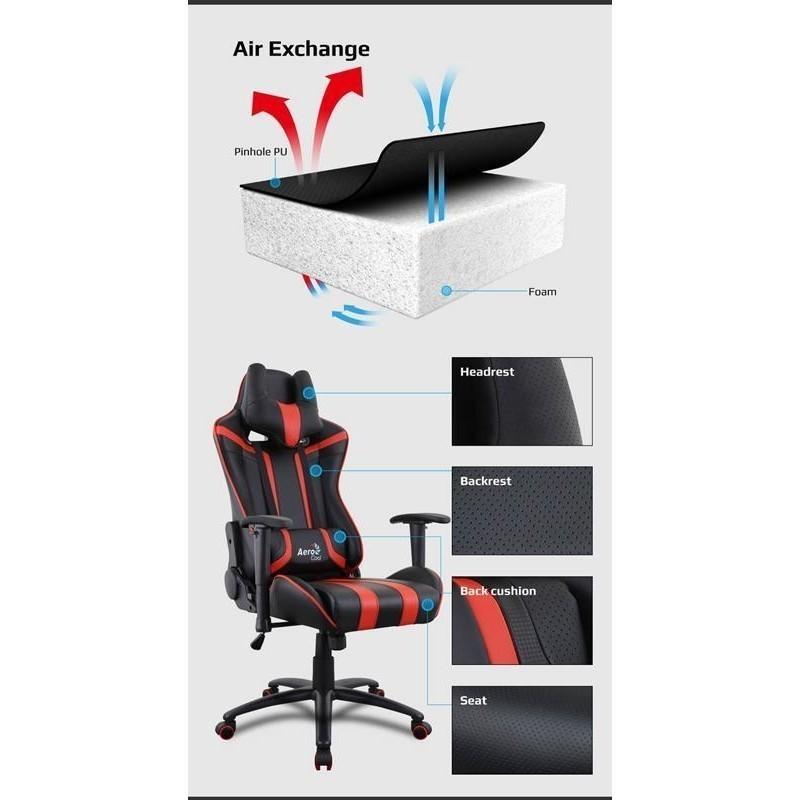Aerocool Gaming Chair Ac 220 Air Black Black Gaming