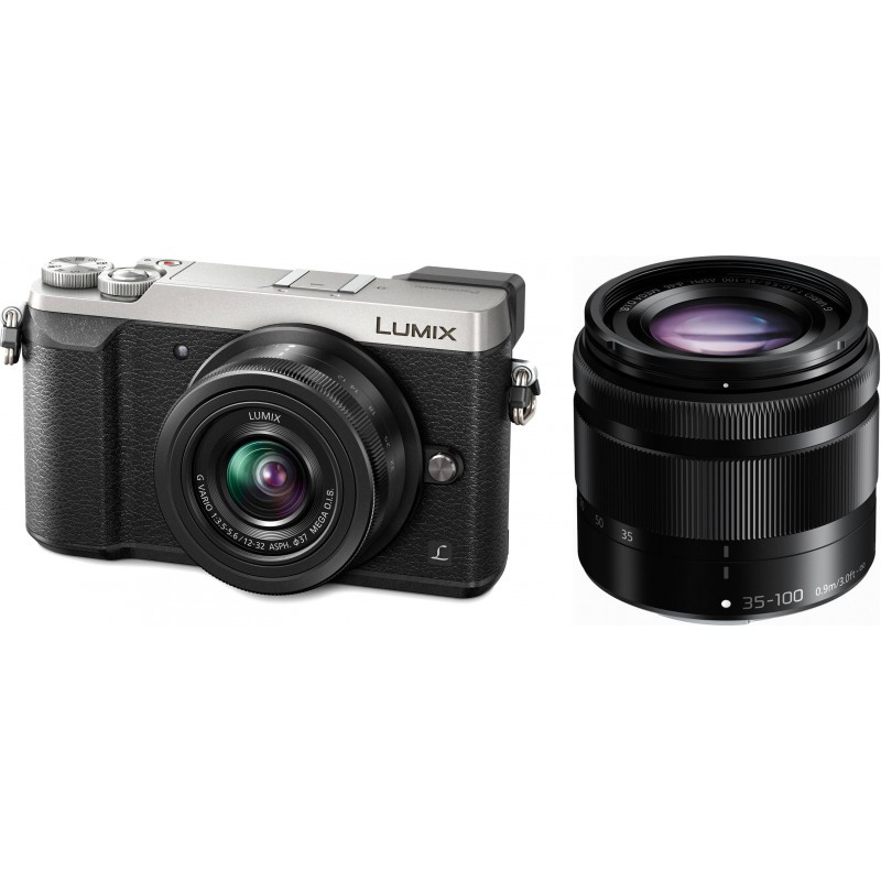 Panasonic lumix dmc gx80 12 32mm 35 100mm kit silver for Housse lumix gx80
