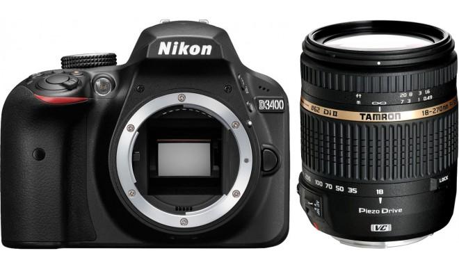 Nikon D3400 + Tamron 18-270мм, черный