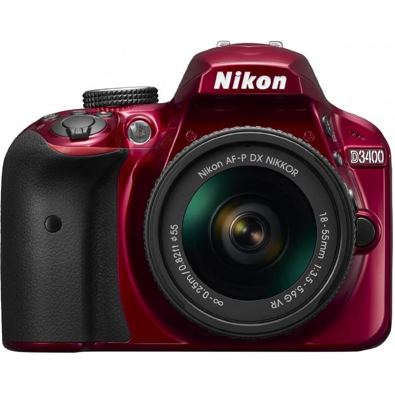 Nikon D3400 + 18-55 AF-P VR Kit, punane