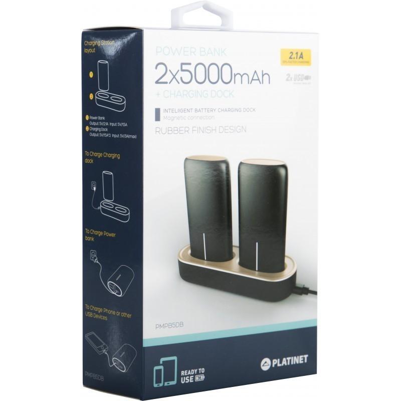 Platinet akupank 2x5000mAh 2.1A USB + laadimisdokk, must (44352)