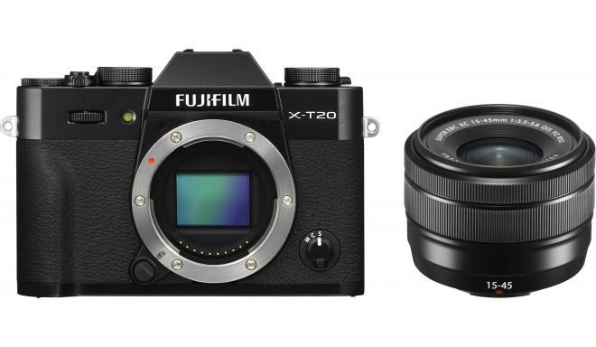 Fujifilm X-T20 + 15-45mm Kit, melns