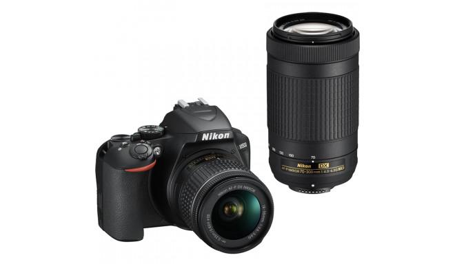 Nikon D3500 + 18-55mm AF-P + 70-300mm Kit, melns