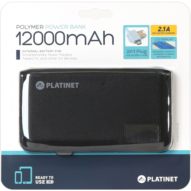 Platinet power bank Leather 12000mAh LCD 2.1A Li-Po (43799)