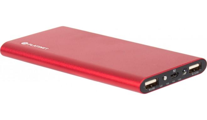 Platinet lādētājs-akumulators 8000mAh Li-Po 2xUSB, sarkans (43567)
