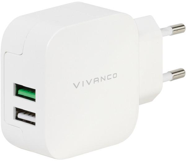 Vivanco laadija USB 2x2,4A, valge (38333)