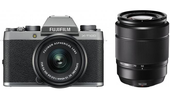 Fujifilm X-T100 + 15-45mm + 50-230mm Kit, tumši sudrabots
