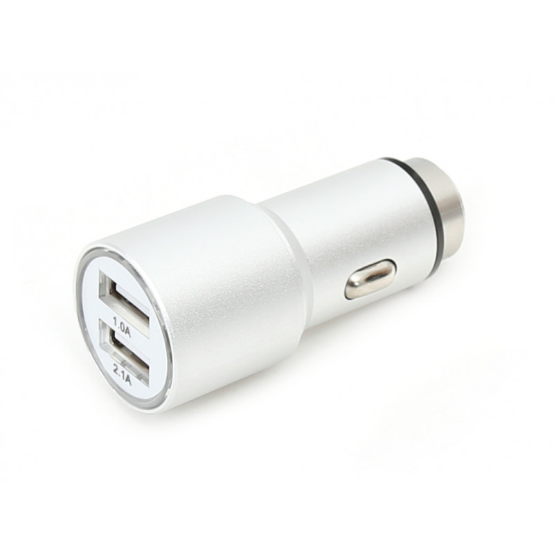Omega автомобильный зарядый адаптер 2xUSB 2100mA Metal, серебристый (43344)
