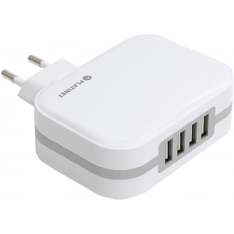 Platinet USB laadija + kaabel 4xUSB 6800mA, valge (43724)