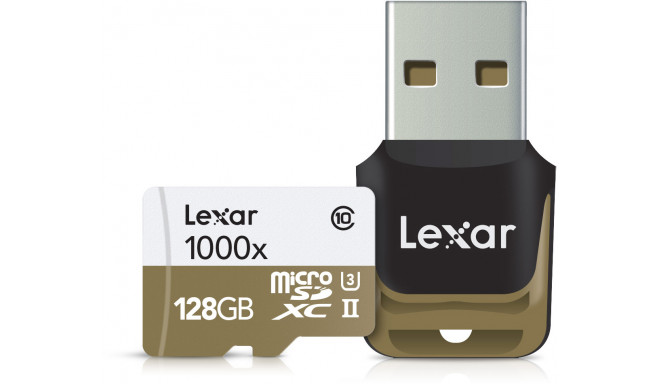 Lexar atmiņas karte microSDXC 128GB Pro 1000x V60 + atmiņas karšu lasītājs
