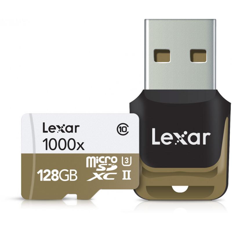 Lexar memory card microSDXC 128GB Pro 1000x V60 + memory card reader