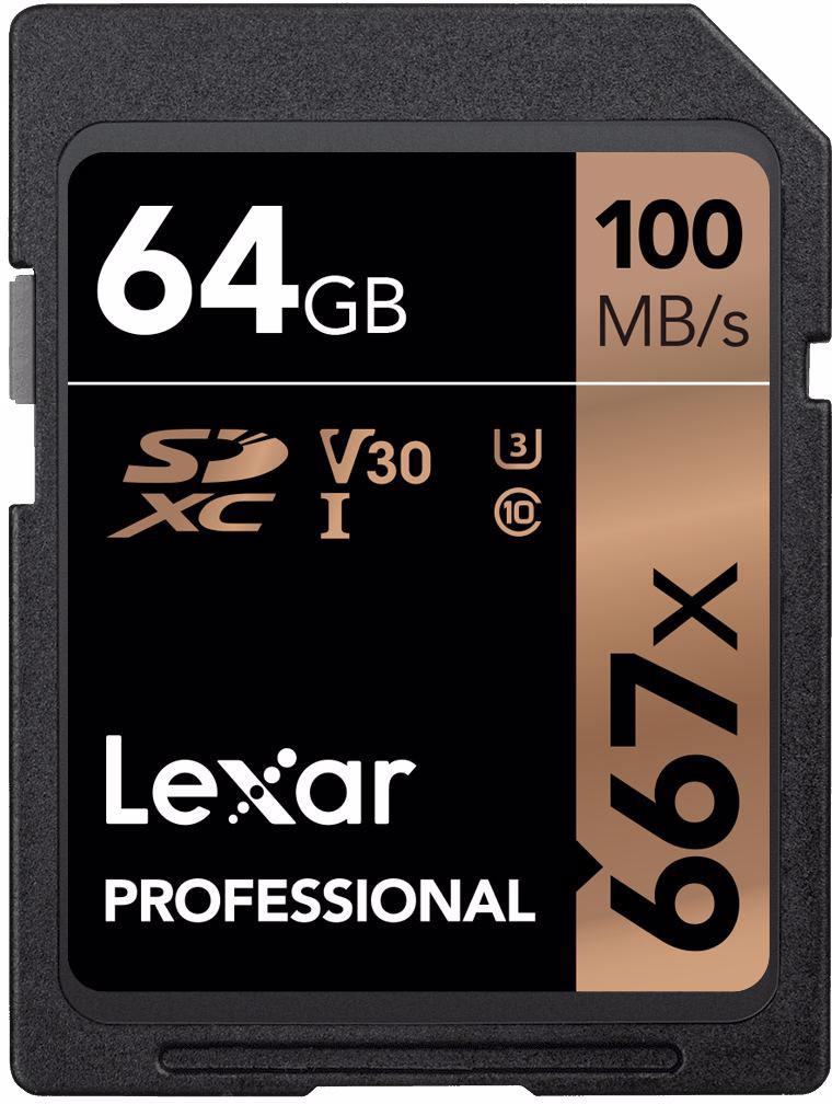 Lexar mälukaart SDXC 64GB Pro 667x U3 V30 100MB/..