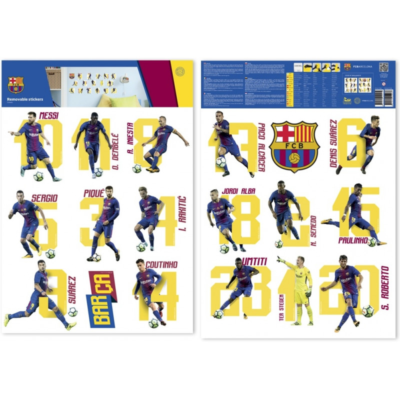 Fc Barcelona Stickers.Fc Barcelona Wall Sticker 16 Players 2 Sheet