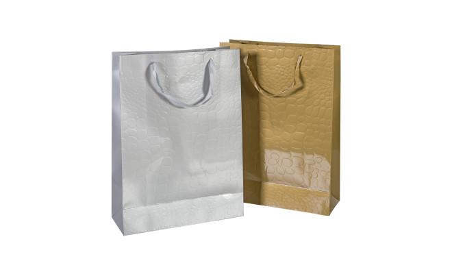 Kinkekott CROCO, 31x42x12cm, kuld / hõbe