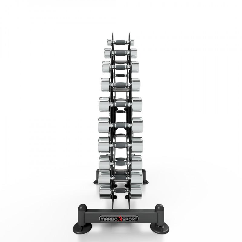 1-10 kg chrome dumbbells with rack