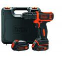 Black&Decker BDCDD12KB cordless screw driller + case + 2 Batteries 1.5Ah