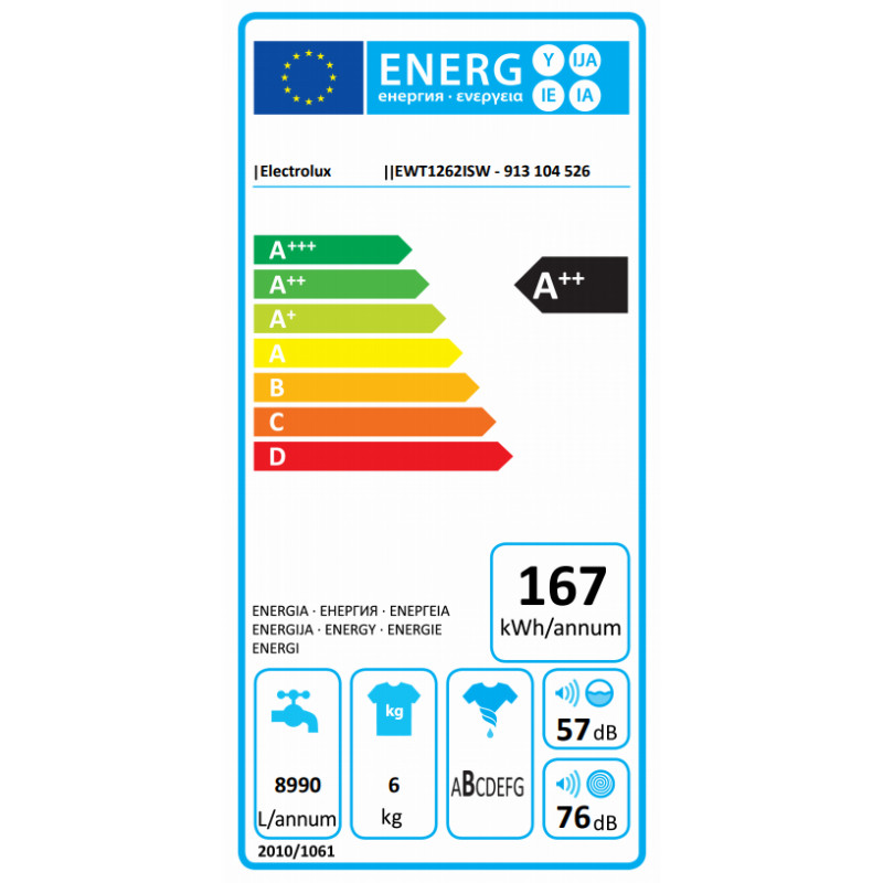 Electrolux pealtlaetav pesumasin 6kg EWT1262ISW