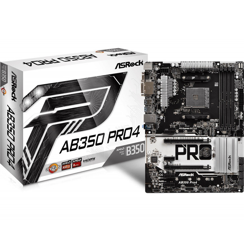 ASRock emaplaat AB350 PRO4 4xDDR4 ATX