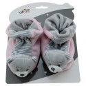 Boots with Rattle New Baby - Bear pink 10 cm