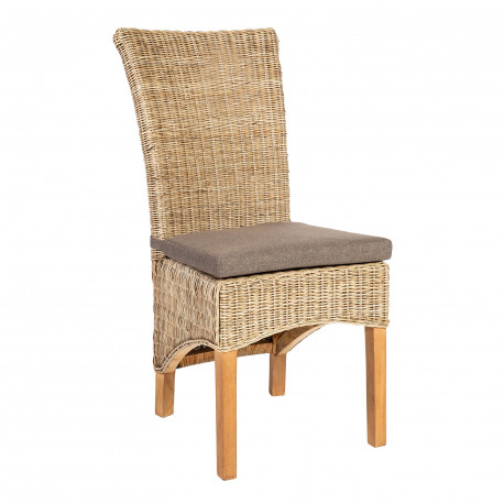 4f01809fea3 Chair MOON with cushion 50x63xH105cm, material: natural rattan, color:  grey, teak