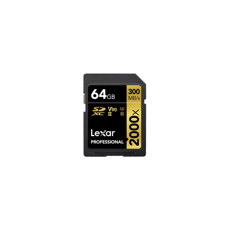 Lexar mälukaart SDXC 64GB Professional 2000x U3 V90 300MB/s + mälukaardilugeja