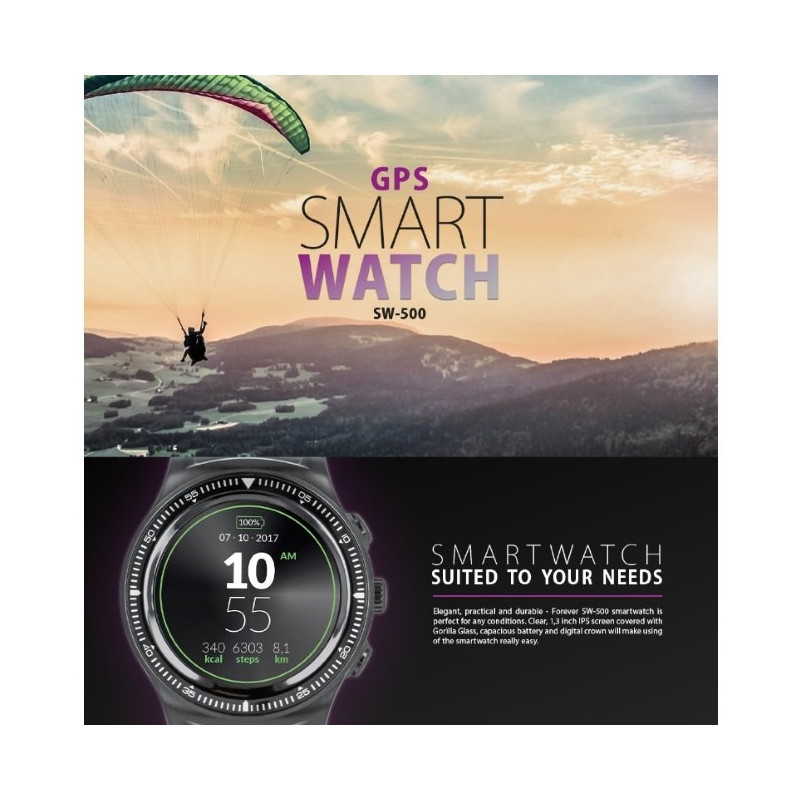 Forever Smart SW-500 Compact Sport Bracelet for Activities with GPS / Pulsometer / IP66 / BT 4.0 / G