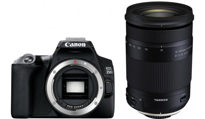 Canon EOS 250D + Tamron 18-400mm, melns