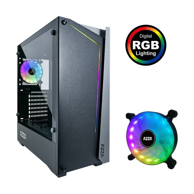 AZZA Apollo 430B-DF2, tower case (black / gray, Tempered Glass)