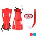 Sukeldumisprillid koos Snorkli ja Lestadega Täiskasvanutele (Punane)