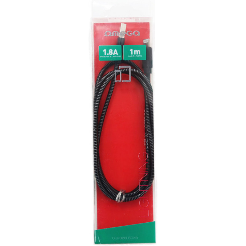 Omega cable Lightning - USB Metal 1m, black (44212)