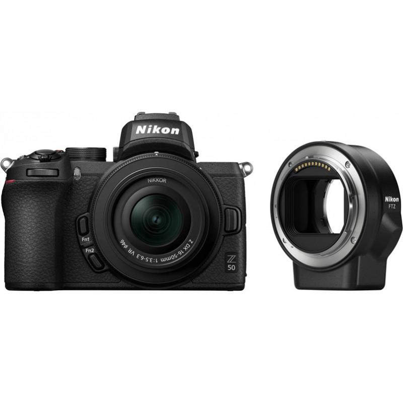 Nikon Z50 + Nikkor Z DX 16-50mm + objektiivi adapter FTZ