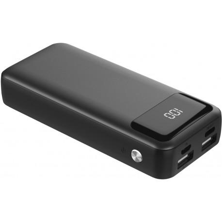 Platinet ārējās uzlādes akumulators 10000mAh LCD USB-C, melns