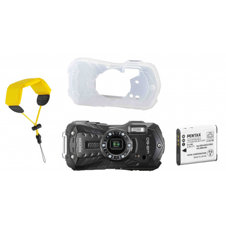 Ricoh WG-60 Kit, black (extra battery + protector jacket + floating strap)
