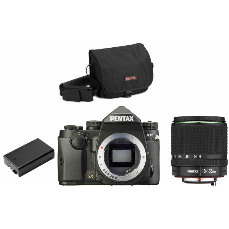 Pentax KP + 18-135mm + kameras soma + rezerves akumulators, melns