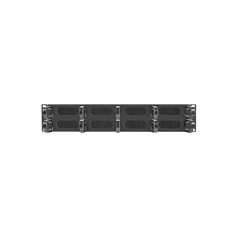 """19"""" CABLE MANAGEMENT AK-1204-B BRUSH PANEL 10 RINGS- TYPE B 2U BLACK LANBERG"""